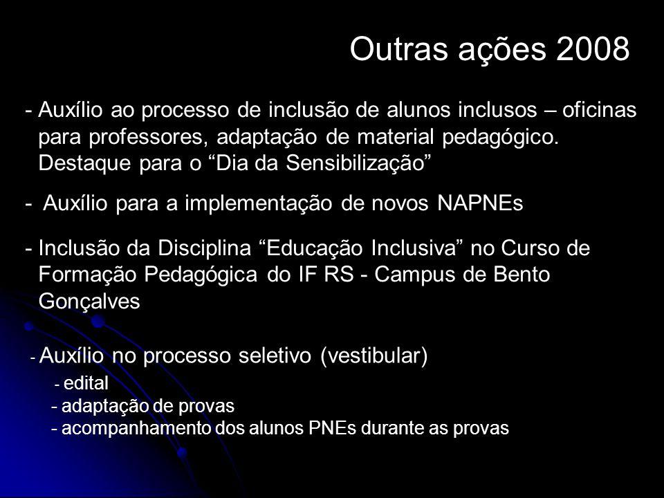 """Outras ações 2008 -Auxílio ao processo de inclusão de alunos inclusos – oficinas para professores, adaptação de material pedagógico. Destaque para o """""""