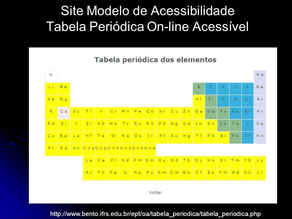 Site Modelo de Acessibilidade Tabela Periódica On-line Acessível http://www.bento.ifrs.edu.br/ept/oa/tabela_periodica/tabela_periodica.php