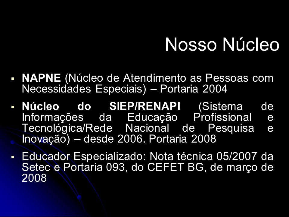 Nosso Núcleo   NAPNE (Núcleo de Atendimento as Pessoas com Necessidades Especiais) – Portaria 2004   Núcleo do SIEP/RENAPI (Sistema de Informações