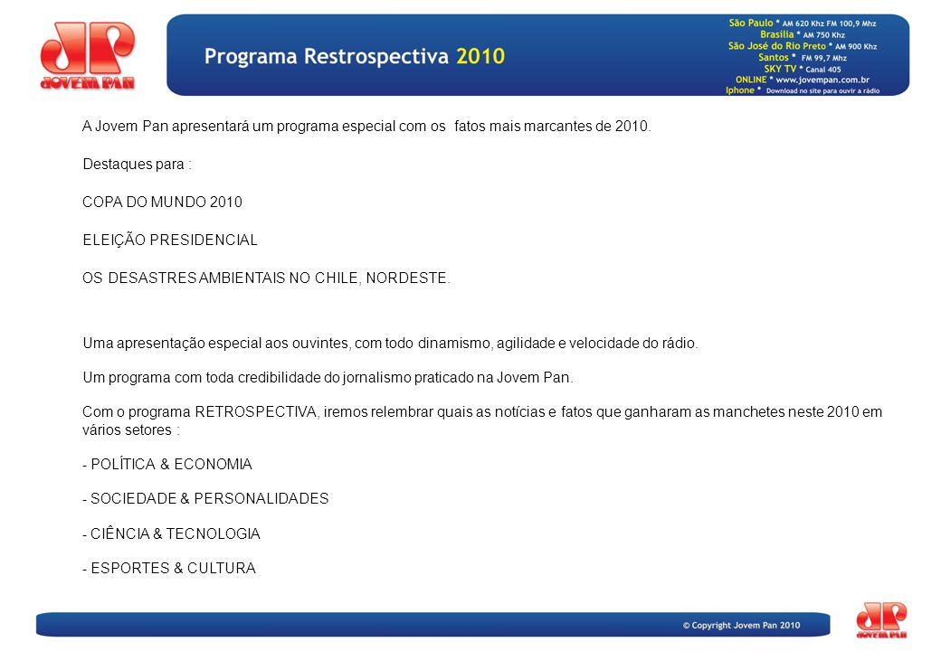 A Jovem Pan apresentará um programa especial com os fatos mais marcantes de 2010.