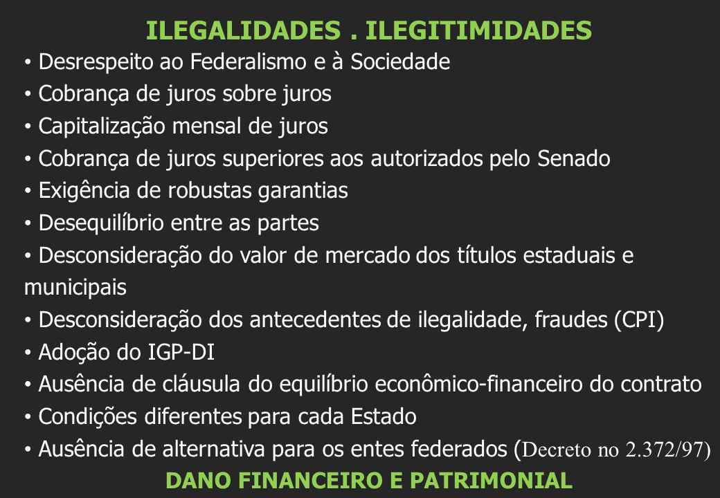 ILEGALIDADES. ILEGITIMIDADES • Desrespeito ao Federalismo e à Sociedade • Cobrança de juros sobre juros • Capitalização mensal de juros • Cobrança de