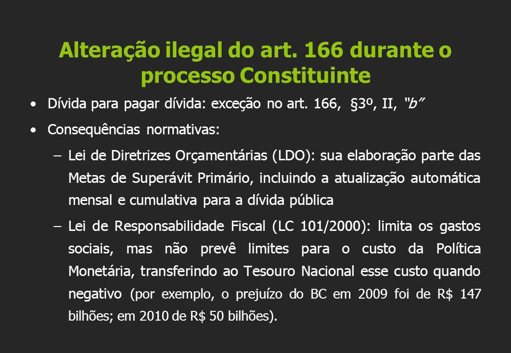 """•Dívida para pagar dívida: exceção no art. 166, §3º, II, """"b"""" •Consequências normativas: –Lei de Diretrizes Orçamentárias (LDO): sua elaboração parte d"""