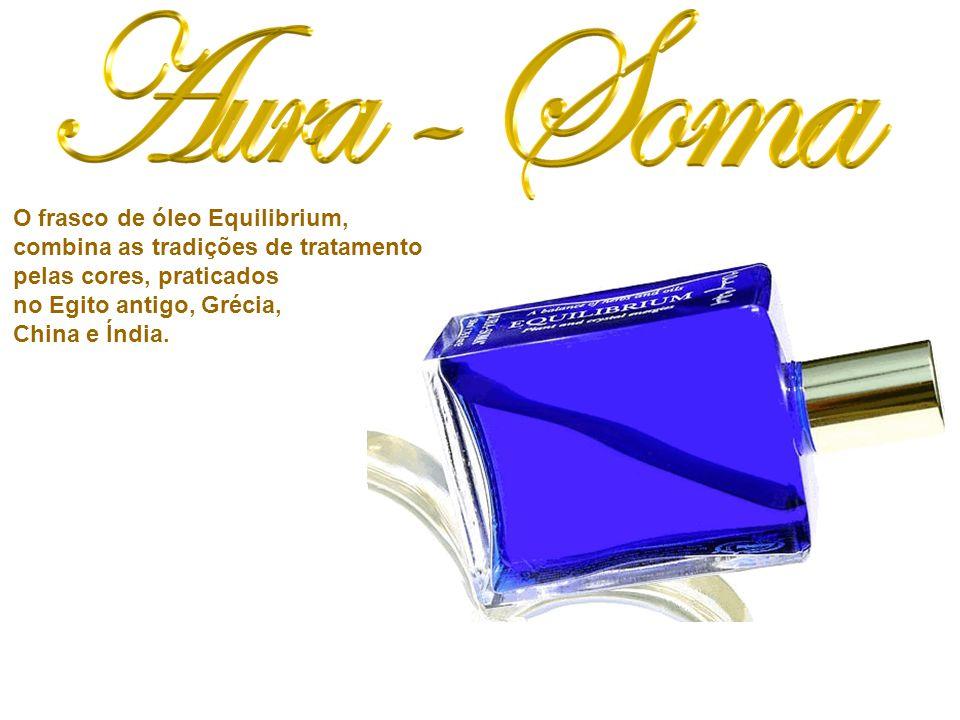 O frasco de óleo Equilibrium, combina as tradições de tratamento pelas cores, praticados no Egito antigo, Grécia, China e Índia.