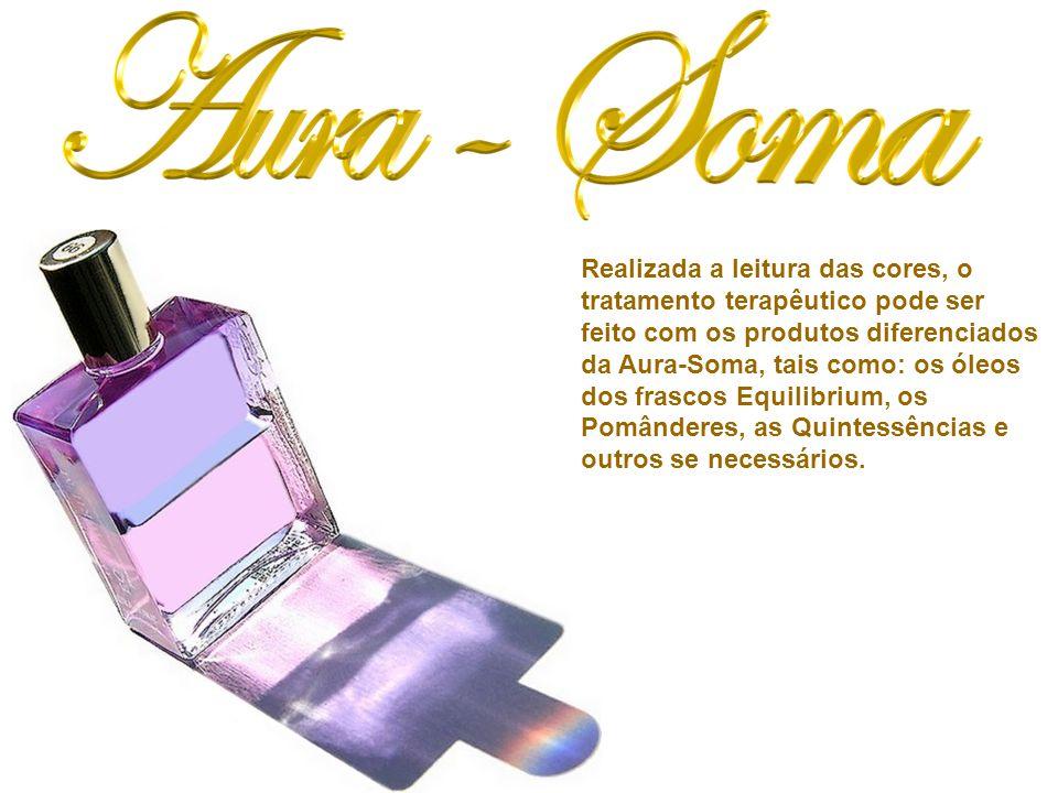 Realizada a leitura das cores, o tratamento terapêutico pode ser feito com os produtos diferenciados da Aura-Soma, tais como: os óleos dos frascos Equilibrium, os Pomânderes, as Quintessências e outros se necessários.