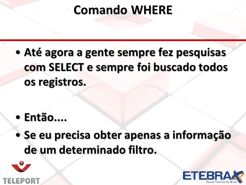 Comando WHERE •Até agora a gente sempre fez pesquisas com SELECT e sempre foi buscado todos os registros.