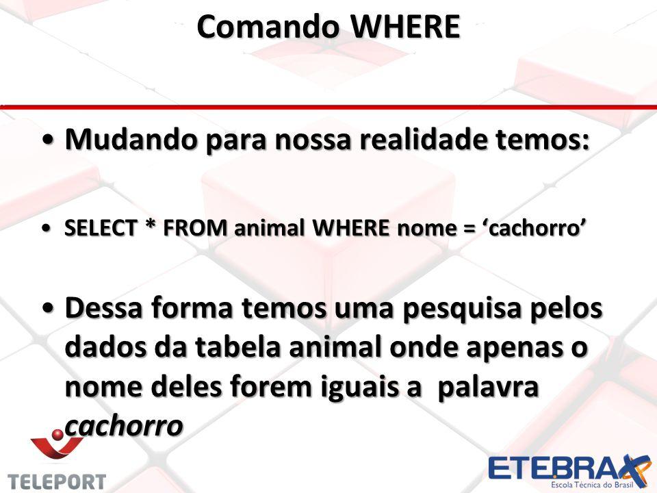 Comando WHERE •Mudando para nossa realidade temos: •SELECT * FROM animal WHERE nome = 'cachorro' •Dessa forma temos uma pesquisa pelos dados da tabela animal onde apenas o nome deles forem iguais a palavra cachorro