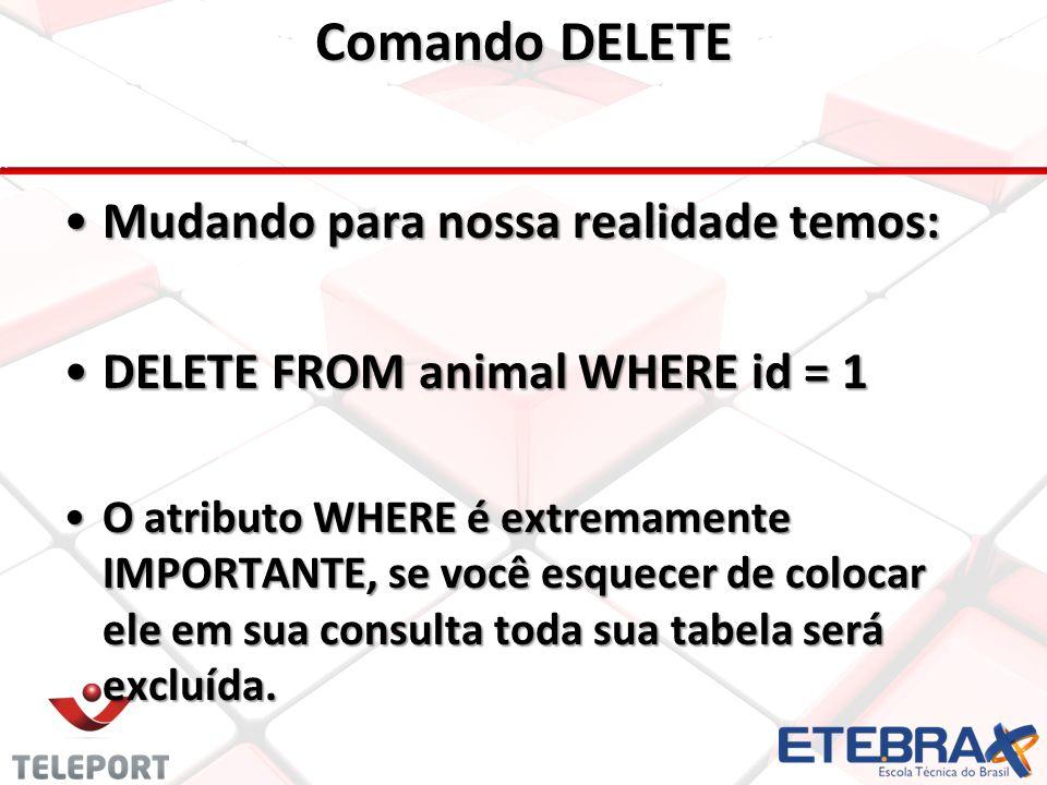 Comando DELETE •Mudando para nossa realidade temos: •DELETE FROM animal WHERE id = 1 •O atributo WHERE é extremamente IMPORTANTE, se você esquecer de colocar ele em sua consulta toda sua tabela será excluída.