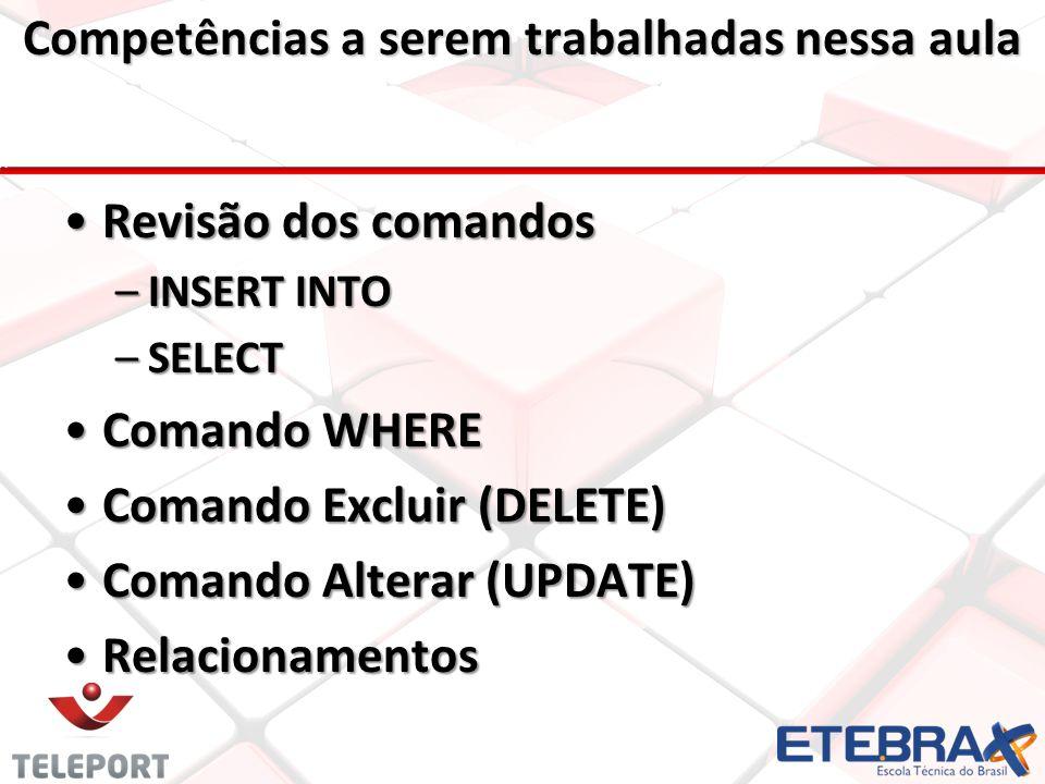 •Revisão dos comandos: •INSERT INTO •SELECT