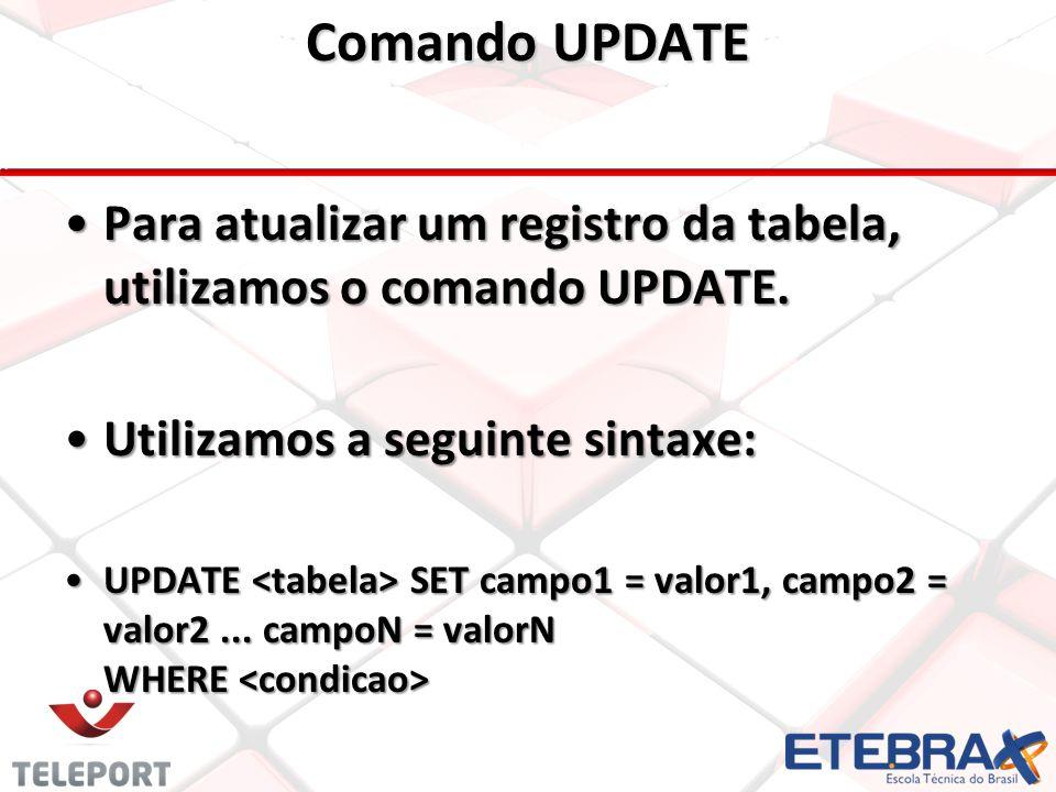 Comando UPDATE •Para atualizar um registro da tabela, utilizamos o comando UPDATE.