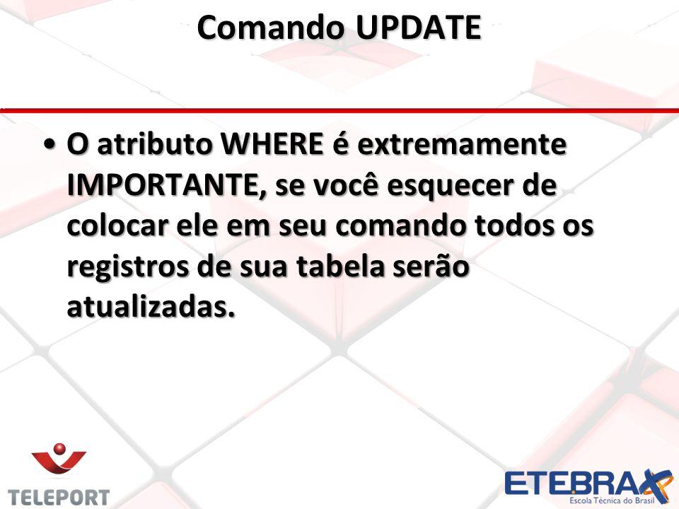 Comando UPDATE •O atributo WHERE é extremamente IMPORTANTE, se você esquecer de colocar ele em seu comando todos os registros de sua tabela serão atualizadas.