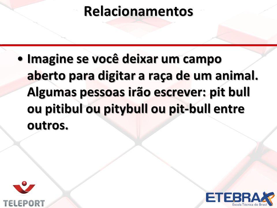 Relacionamentos •Imagine se você deixar um campo aberto para digitar a raça de um animal.
