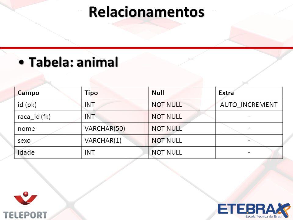 Relacionamentos •Tabela: animal CampoTipoNullExtra id (pk)INTNOT NULLAUTO_INCREMENT raca_id (fk)INTNOT NULL- nomeVARCHAR(50)NOT NULL- sexoVARCHAR(1)NOT NULL- idadeINTNOT NULL-