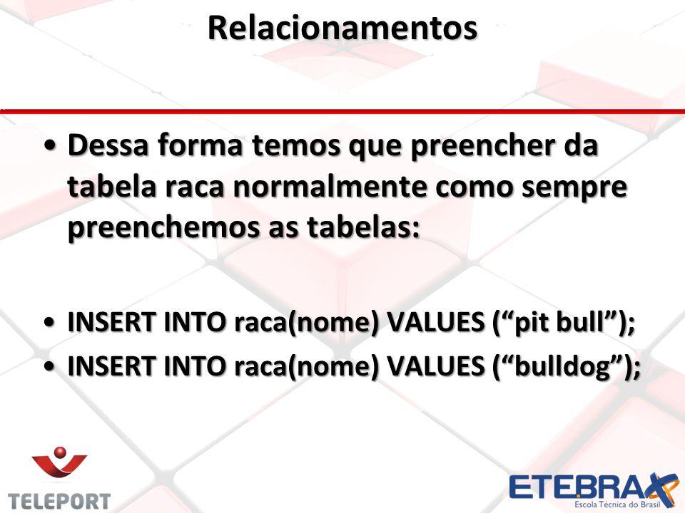 Relacionamentos •Dessa forma temos que preencher da tabela raca normalmente como sempre preenchemos as tabelas: •INSERT INTO raca(nome) VALUES ( pit bull ); •INSERT INTO raca(nome) VALUES ( bulldog );