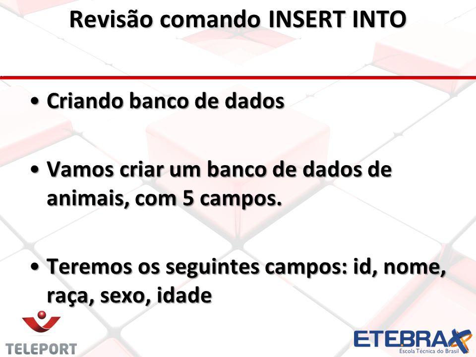 Revisão comando INSERT INTO CampoTipoNullExtra id (pk)INTNOT NULLAUTO_INCREMENT nomeVARCHAR(50)NOT NULL- racaVARCHAR(30)NOT NULL- sexoVARCHAR(1)NOT NULL- idadeINTNOT NULL- Dados das colunas