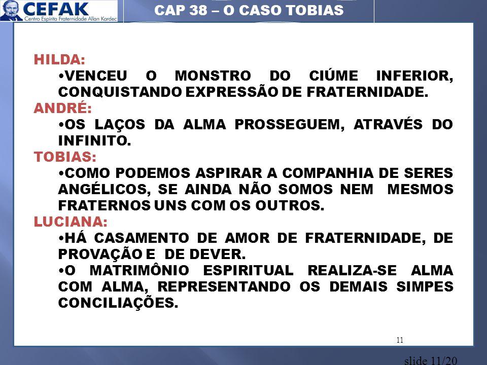slide 11/20 11 CAP 38 – O CASO TOBIAS HILDA: •VENCEU O MONSTRO DO CIÚME INFERIOR, CONQUISTANDO EXPRESSÃO DE FRATERNIDADE. ANDRÉ: •OS LAÇOS DA ALMA PRO