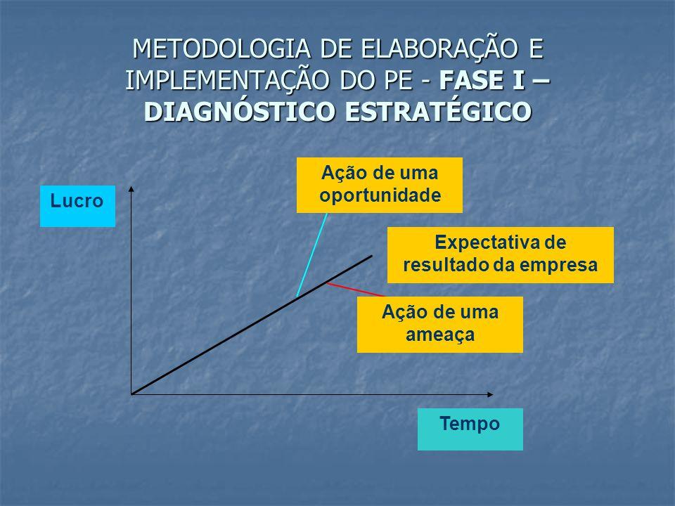 METODOLOGIA DE ELABORAÇÃO E IMPLEMENTAÇÃO DO PE - FASE I – DIAGNÓSTICO ESTRATÉGICO Ação de uma oportunidade Expectativa de resultado da empresa Ação d