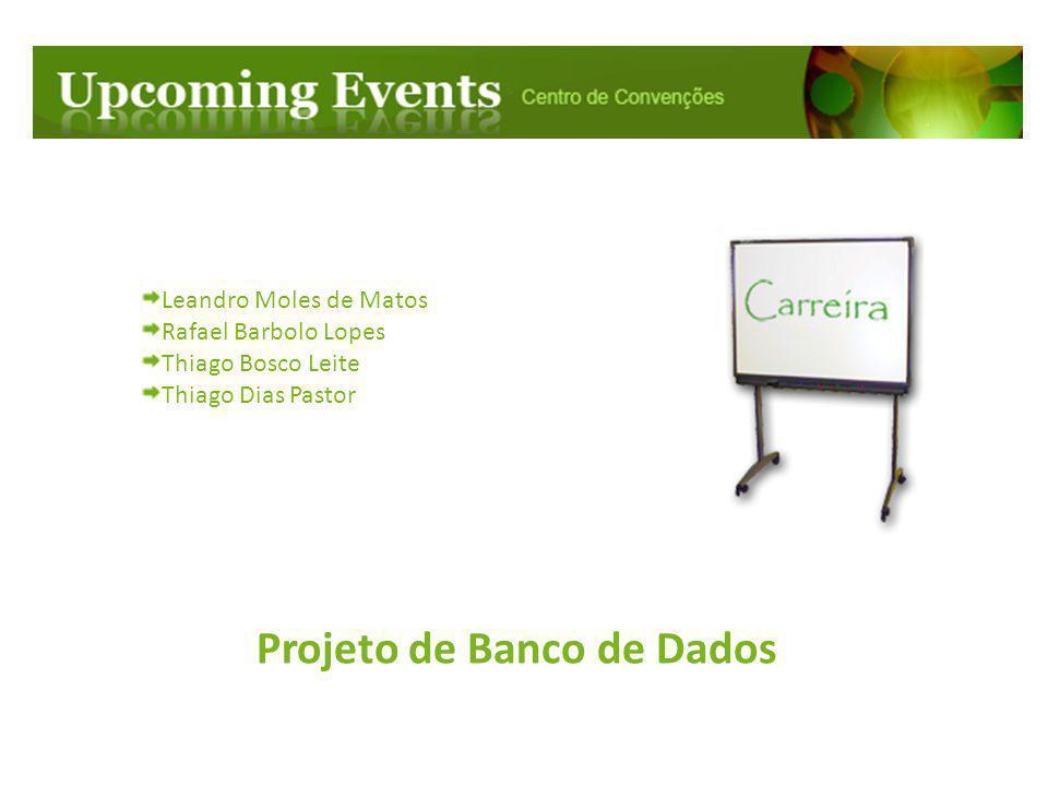 Projeto de Banco de Dados Leandro Moles de Matos Rafael Barbolo Lopes Thiago Bosco Leite Thiago Dias Pastor