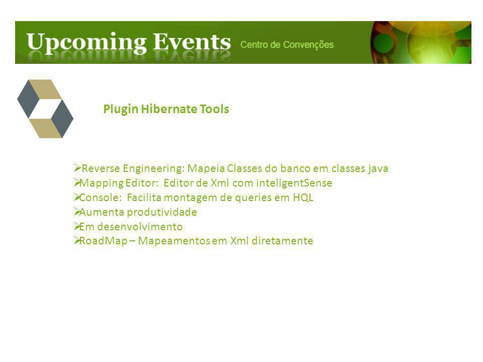 Plugin Hibernate Tools  Reverse Engineering: Mapeia Classes do banco em classes java  Mapping Editor: Editor de Xml com inteligentSense  Console: F
