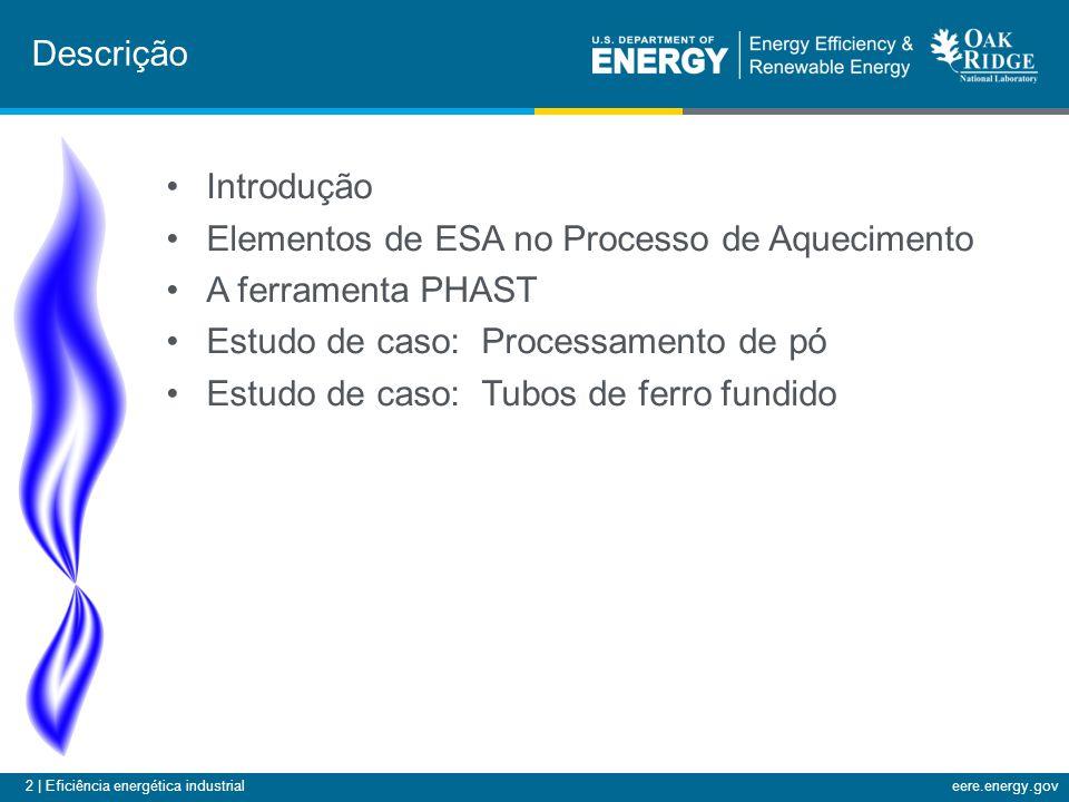 2 | Eficiência energética industrialeere.energy.gov •Introdução •Elementos de ESA no Processo de Aquecimento •A ferramenta PHAST •Estudo de caso: Processamento de pó •Estudo de caso: Tubos de ferro fundido Descrição