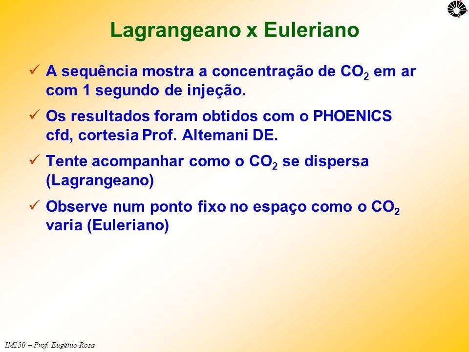IM250 – Prof. Eugênio Rosa Lagrangeano x Euleriano  A sequência mostra a concentração de CO 2 em ar com 1 segundo de injeção.  Os resultados foram o