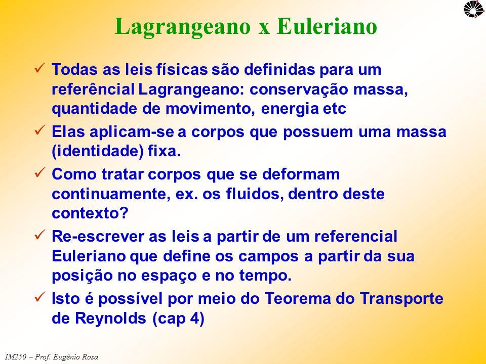 IM250 – Prof. Eugênio Rosa Lagrangeano x Euleriano  Todas as leis físicas são definidas para um referêncial Lagrangeano: conservação massa, quantidad