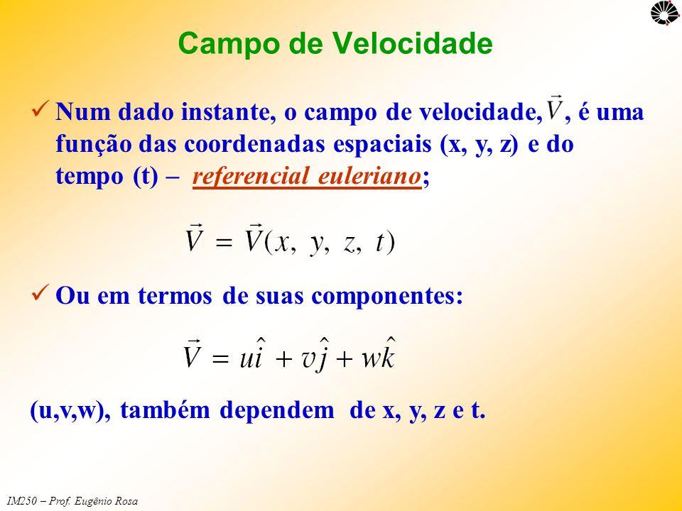 IM250 – Prof. Eugênio Rosa  Num dado instante, o campo de velocidade,, é uma função das coordenadas espaciais (x, y, z) e do tempo (t) – referencial