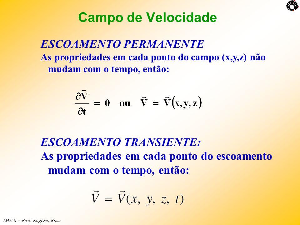 IM250 – Prof. Eugênio Rosa ESCOAMENTO PERMANENTE As propriedades em cada ponto do campo (x,y,z) não mudam com o tempo, então: ESCOAMENTO TRANSIENTE: A