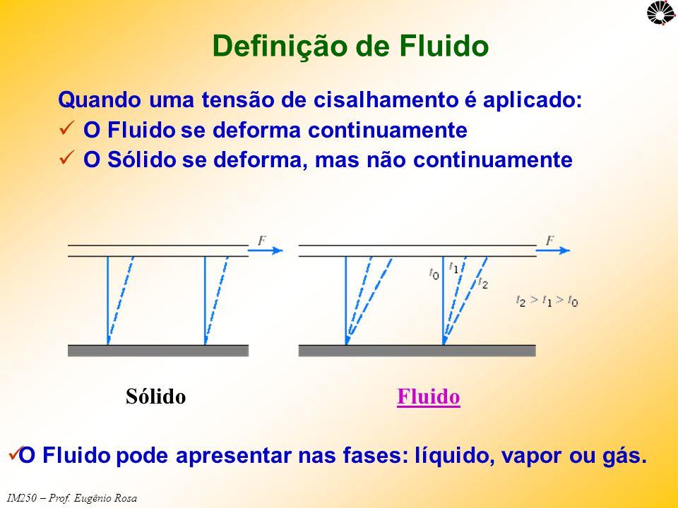Definição de Fluido Quando uma tensão de cisalhamento é aplicado:  O Fluido se deforma continuamente  O Sólido se deforma, mas não continuamente Sól