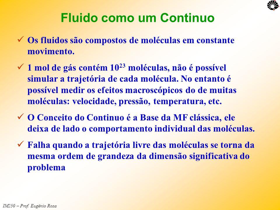 IM250 – Prof. Eugênio Rosa Fluido como um Continuo  Os fluidos são compostos de moléculas em constante movimento.  1 mol de gás contém 10 23 molécul