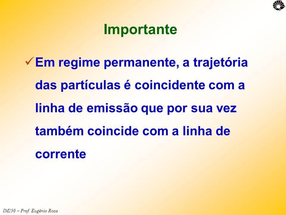 IM250 – Prof. Eugênio Rosa Importante  Em regime permanente, a trajetória das partículas é coincidente com a linha de emissão que por sua vez também