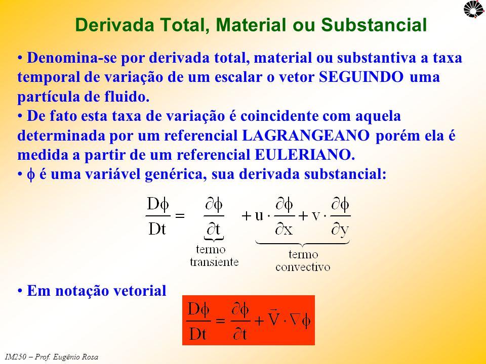 IM250 – Prof. Eugênio Rosa Derivada Total, Material ou Substancial • Denomina-se por derivada total, material ou substantiva a taxa temporal de variaç