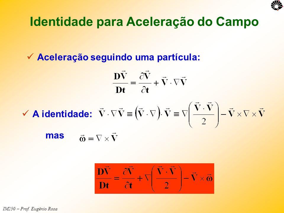 IM250 – Prof. Eugênio Rosa Identidade para Aceleração do Campo  Aceleração seguindo uma partícula:  A identidade: mas