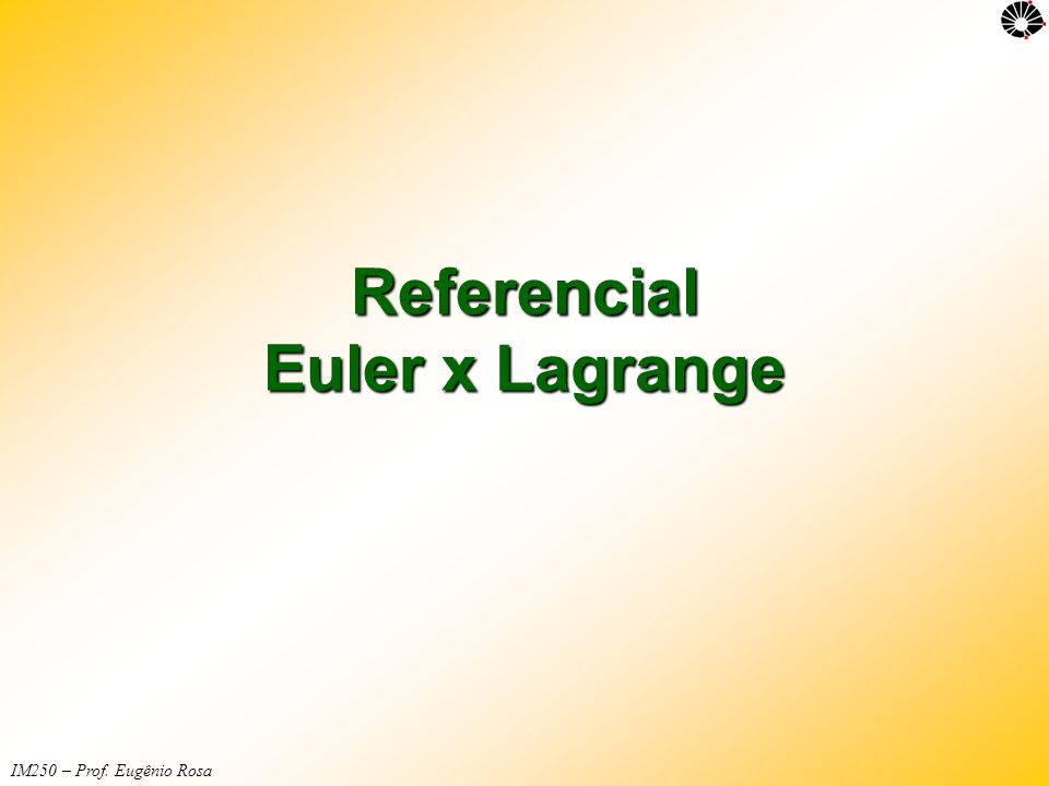IM250 – Prof. Eugênio Rosa Referencial Euler x Lagrange