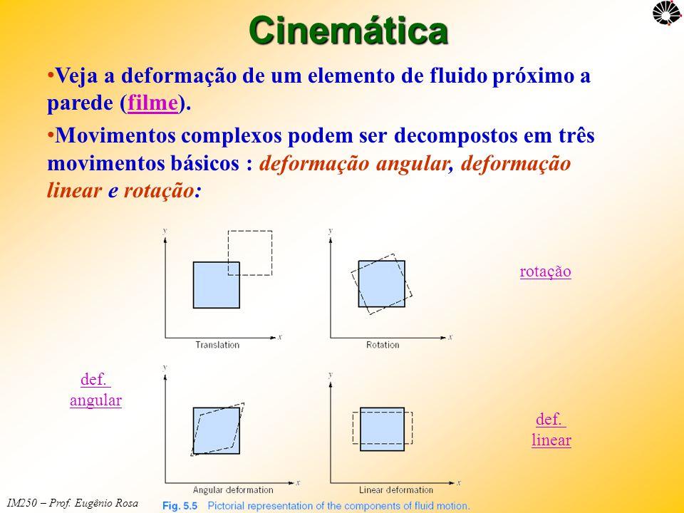 IM250 – Prof. Eugênio RosaCinemática • Veja a deformação de um elemento de fluido próximo a parede (filme).filme • Movimentos complexos podem ser deco