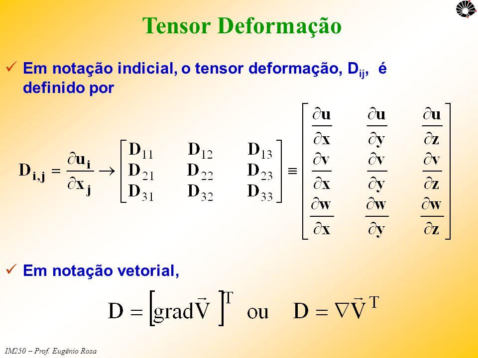 IM250 – Prof. Eugênio Rosa Tensor Deformação  Em notação indicial, o tensor deformação, D ij, é definido por  Em notação vetorial,
