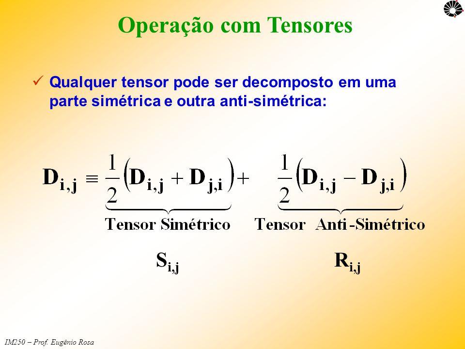 IM250 – Prof. Eugênio Rosa Operação com Tensores  Qualquer tensor pode ser decomposto em uma parte simétrica e outra anti-simétrica: S i,j R i,j