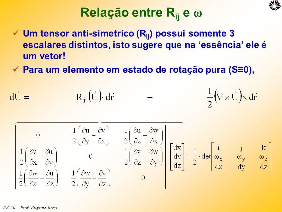 IM250 – Prof. Eugênio Rosa Relação entre R ij e   Um tensor anti-simetrico (R ij ) possui somente 3 escalares distintos, isto sugere que na 'essênci