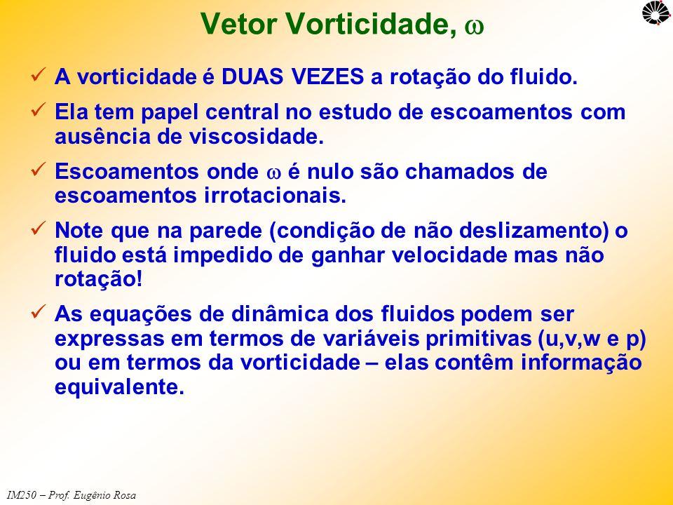 IM250 – Prof. Eugênio Rosa Vetor Vorticidade,   A vorticidade é DUAS VEZES a rotação do fluido.  Ela tem papel central no estudo de escoamentos com