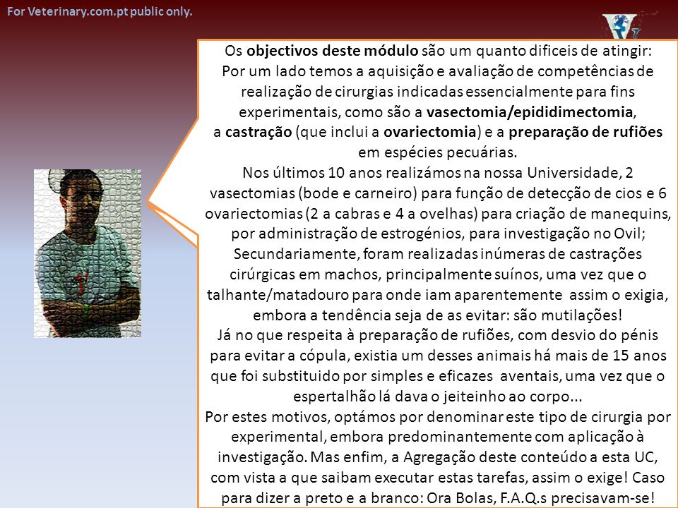 For educational purposes only. Orquiectomia em equinos