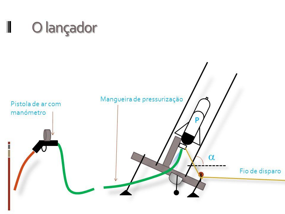 O lançador  P Fio de disparo Mangueira de pressurização Pistola de ar com manómetro