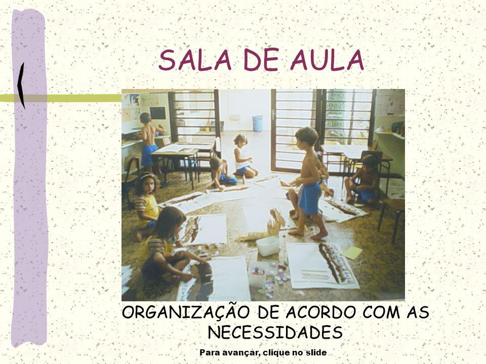 Para avançar, clique no slide SALA DE AULA ORGANIZAÇÃO DE ACORDO COM AS NECESSIDADES