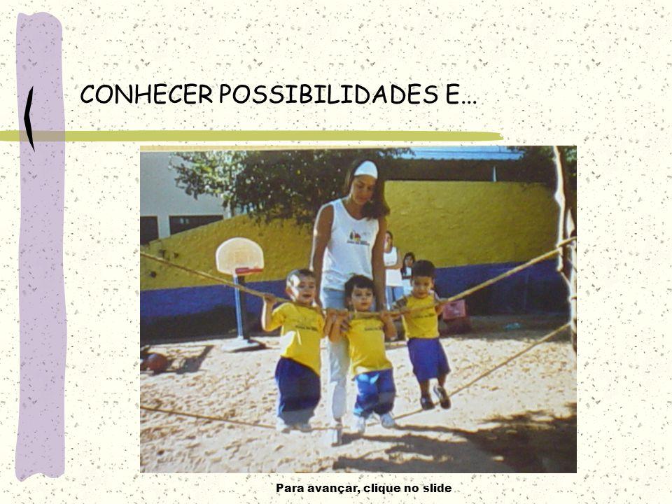 Para avançar, clique no slide CONHECER POSSIBILIDADES E...
