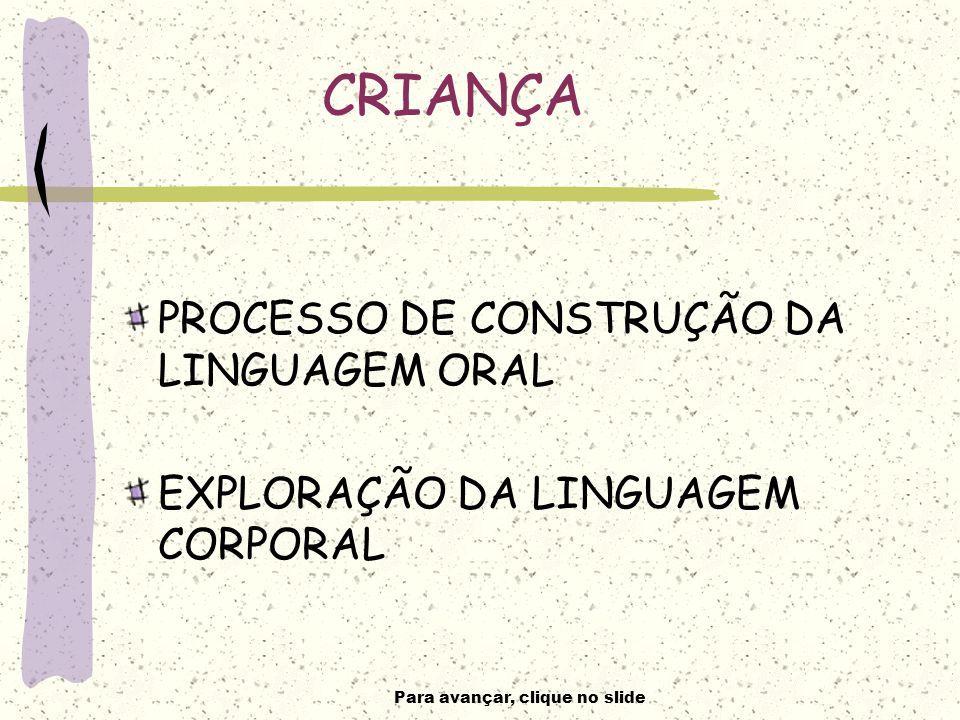 Para avançar, clique no slide CRIANÇA PROCESSO DE CONSTRUÇÃO DA LINGUAGEM ORAL EXPLORAÇÃO DA LINGUAGEM CORPORAL