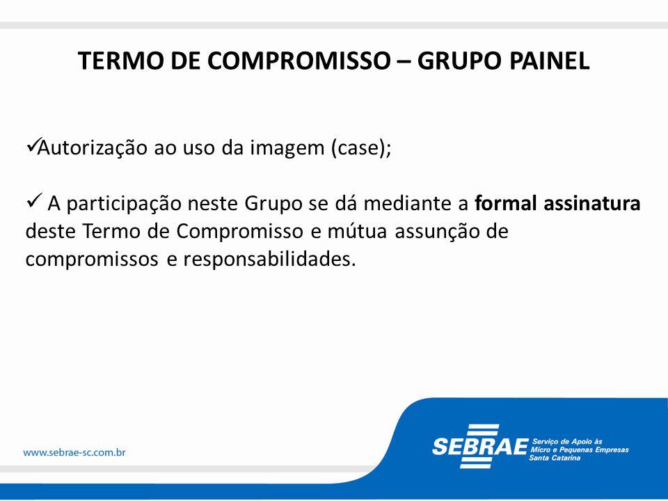 TERMO DE COMPROMISSO – GRUPO PAINEL  Autorização ao uso da imagem (case);  A participação neste Grupo se dá mediante a formal assinatura deste Termo de Compromisso e mútua assunção de compromissos e responsabilidades.