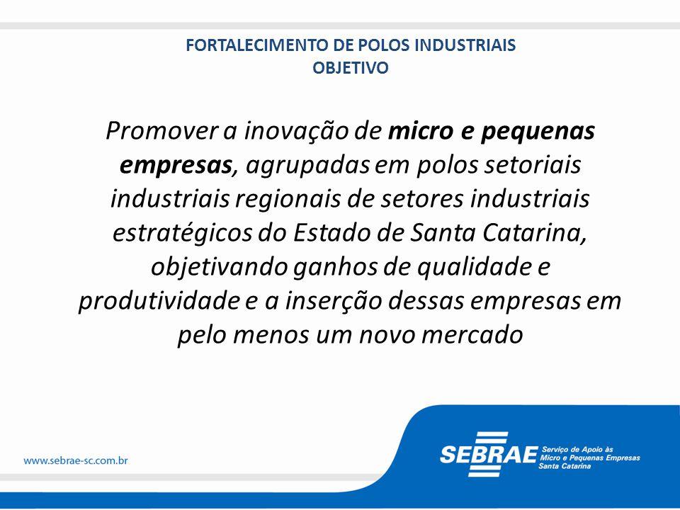 FORTALECIMENTO DE POLOS INDUSTRIAIS OBJETIVO Promover a inovação de micro e pequenas empresas, agrupadas em polos setoriais industriais regionais de setores industriais estratégicos do Estado de Santa Catarina, objetivando ganhos de qualidade e produtividade e a inserção dessas empresas em pelo menos um novo mercado