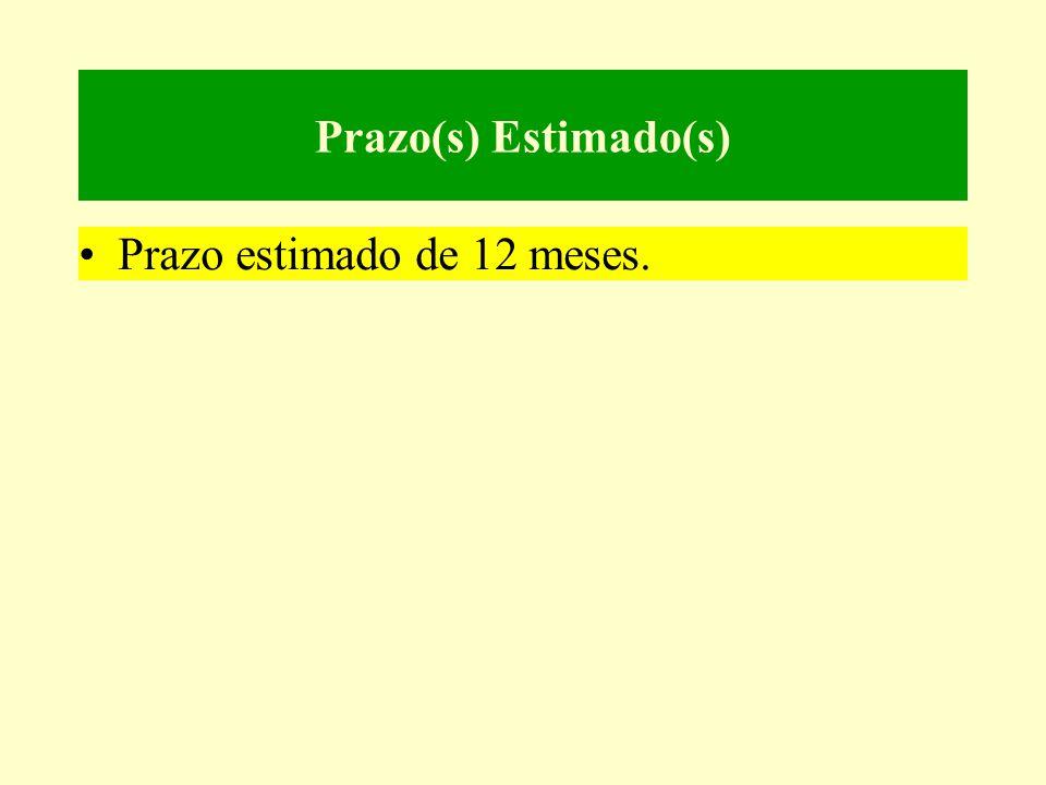 Prazo(s) Estimado(s) •Prazo estimado de 12 meses.