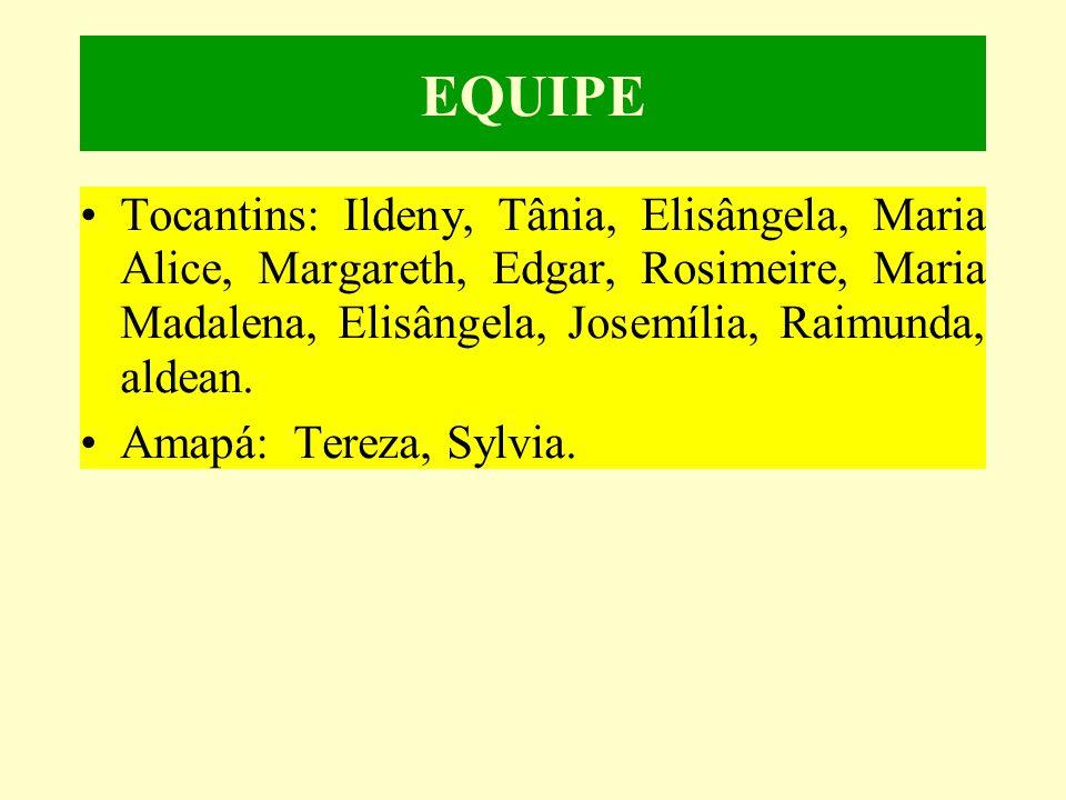 EQUIPE •Tocantins: Ildeny, Tânia, Elisângela, Maria Alice, Margareth, Edgar, Rosimeire, Maria Madalena, Elisângela, Josemília, Raimunda, aldean.