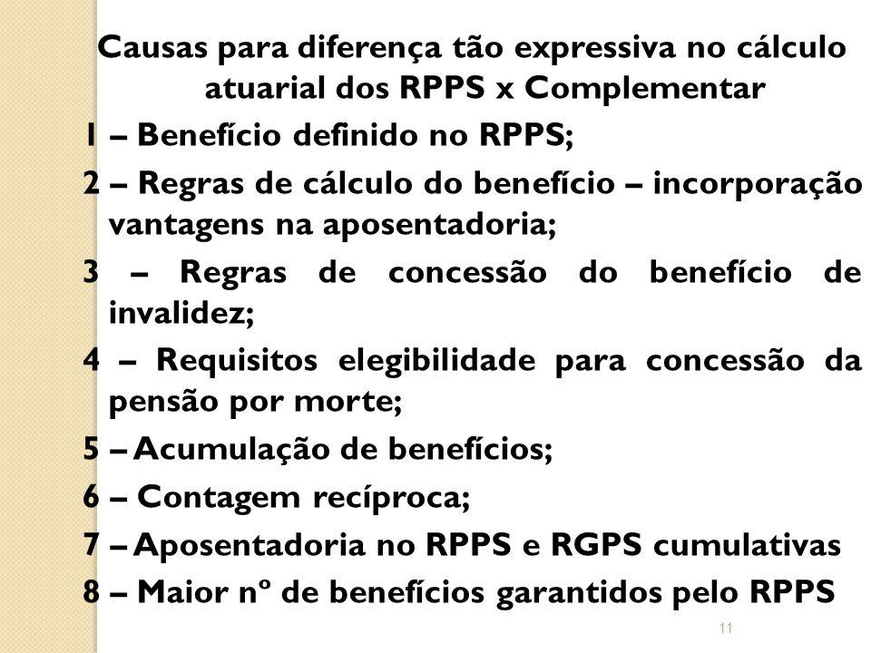 Causas para diferença tão expressiva no cálculo atuarial dos RPPS x Complementar 1 – Benefício definido no RPPS; 2 – Regras de cálculo do benefício – incorporação vantagens na aposentadoria; 3 – Regras de concessão do benefício de invalidez; 4 – Requisitos elegibilidade para concessão da pensão por morte; 5 – Acumulação de benefícios; 6 – Contagem recíproca; 7 – Aposentadoria no RPPS e RGPS cumulativas 8 – Maior nº de benefícios garantidos pelo RPPS 11