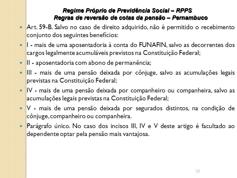 Regime Próprio de Previdência Social – RPPS Regras de reversão de cotas da pensão – Pernambuco  Art.