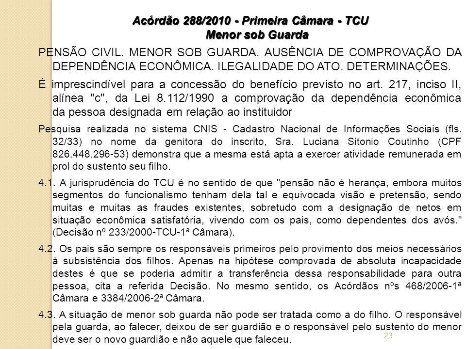 Acórdão 288/2010 - Primeira Câmara - TCU Menor sob Guarda PENSÃO CIVIL.